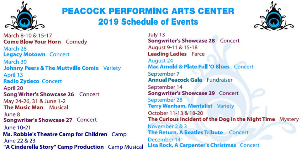 The Peacock 2019 Event Schedule