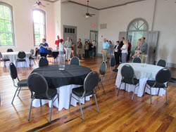 STMS attendees explore the renovated courthouse court.